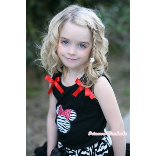 Minnie Print Black Tank Top with Red Bow TB278