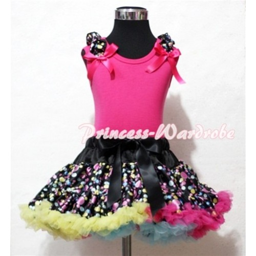 Black Rainbow Polka Dot Pettiskirt with Black Rainbow Dot Ruffles Hot Pink Ribbon Hot Pink Tank Top MG35
