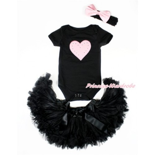 Valentine's Day Black Baby Jumpsuit with Light Pink Heart Print with Black Newborn Pettiskirt With Black Headband Light Pink Satin Bow JN15