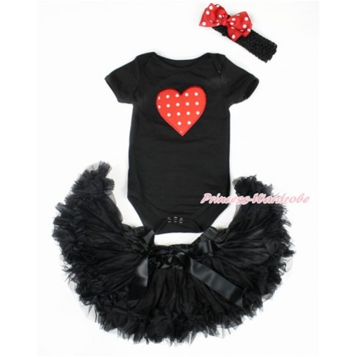 Valentine's Day Black Baby Jumpsuit with Red White Dots Heart Print with Black Newborn Pettiskirt With Black Headband Minnie Dots Silk Bow JN19