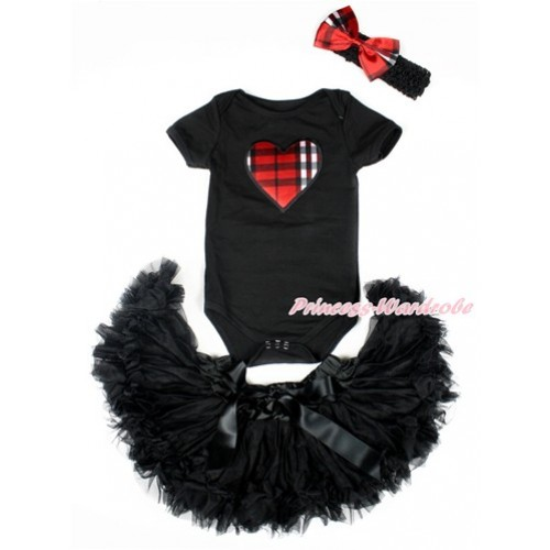 Valentine's Day Black Baby Jumpsuit with Red Black Checked Heart Print with Black Newborn Pettiskirt With Black Headband Red Black Checked Satin Bow JN20