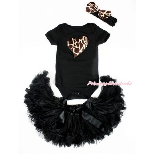 Valentine's Day Black Baby Jumpsuit with Brown Giraffe Heart Print with Black Newborn Pettiskirt With Black Headband Giraffe Satin Bow JN21