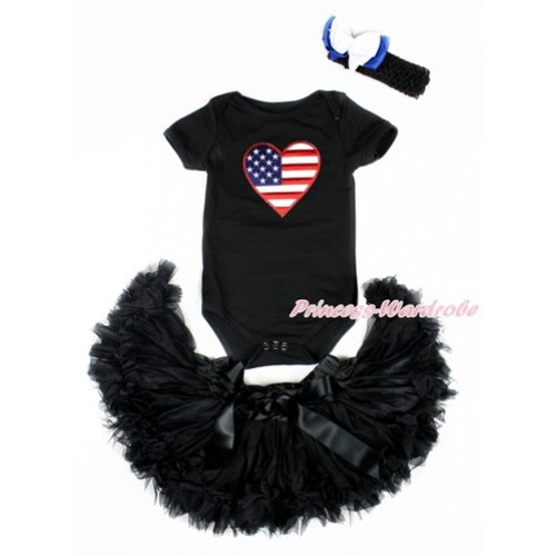 Valentine's Day Black Baby Jumpsuit with Patriotic American Heart Print with Black Newborn Pettiskirt With Black Headband White Royal Blue Ribbon Bow JN23