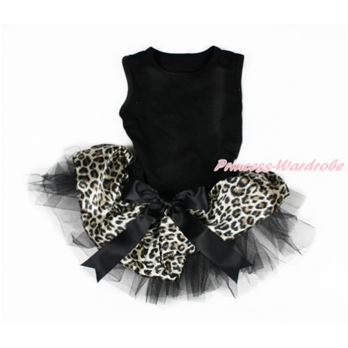 Black Sleeveless Leopard Black Gauze Skirt With Black Bow Pet Dress DC073