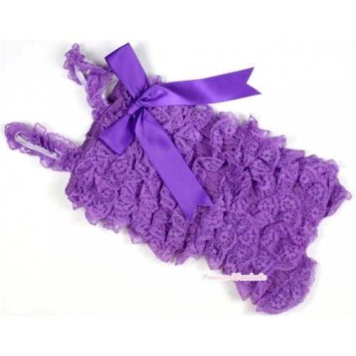 Dark Purple Lace Ruffles Petti Rompers with Straps with Big Bow LR140