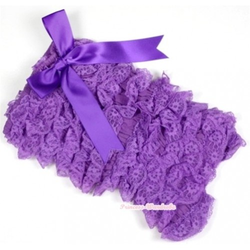 Dark Purple Lace Ruffles Petti Rompers with Big Bow LR141