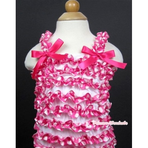 Hot Pink White Polka Dots Ruffles Tank Top with Hot Pink Bow NR50