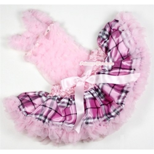 Light Pink Baby Ruffles Tank Top with Light Pink Checked Baby Pettiskirt NR52