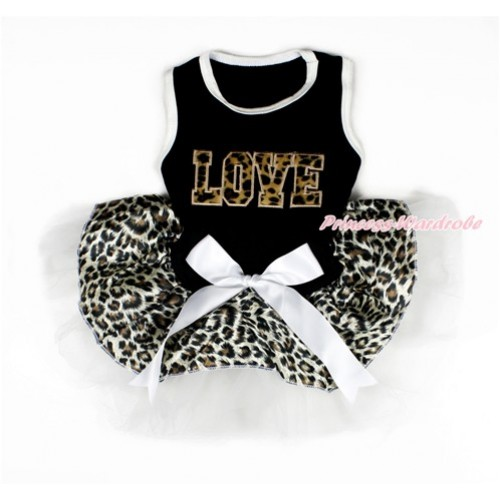 Black Sleeveless Leopard White Gauze Skirt With Leopard LOVE Print With White Bow Pet Dress DC100