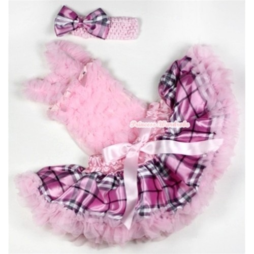 Light Pink Baby Ruffles Tank Top with Light Pink Checked Baby Pettiskirt with Light Pink Headband Light Pink Checked Satin Bow NR54