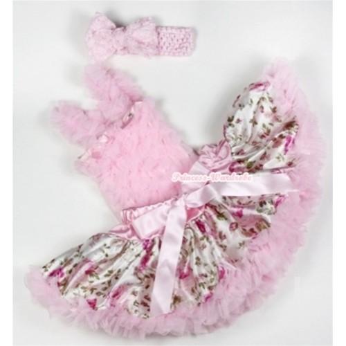Light Pink Baby Ruffles Tank Top with Light Pink Rose Fusion Baby Pettiskirt with Light Pink Headband Light Pink Romantic Rose Bow NR55