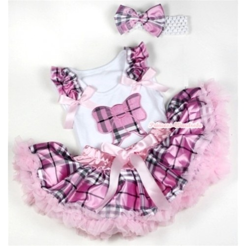 White Baby Pettitop with Light Pink Checked Butterfly Print with Light Pink Checked Ruffles & Light Pink Bows & Light Pink Checked Newborn Pettiskirt With White Headband Light Pink Checked Satin Bow NG1151