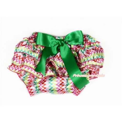 Easter Rainbow Wave Satin Layer Panties Bloomers With Kelly Green Bow BC194