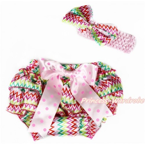 Easter Rainbow Wave Satin Layer Panties Bloomers with Light Hot Pink Dots Bow & Light Pink Headband Rainbow Wave Satin Bow BA15