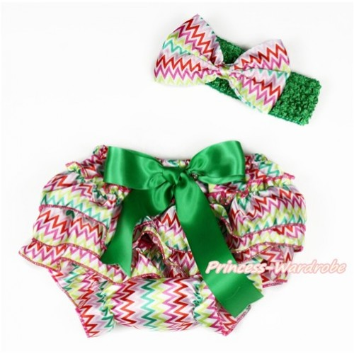 Easter Rainbow Wave Satin Layer Panties Bloomers with Kelly Green Bow & Kelly Green Headband Rainbow Wave Satin Bow BA18