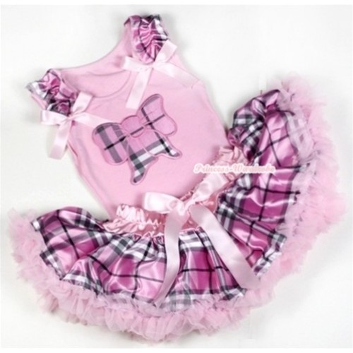 Light Pink Baby Pettitop with Light Pink Checked Butterfly Print with Light Pink Checked Ruffles & Light Pink Bow with Light Pink Checked Newborn Pettiskirt BG049