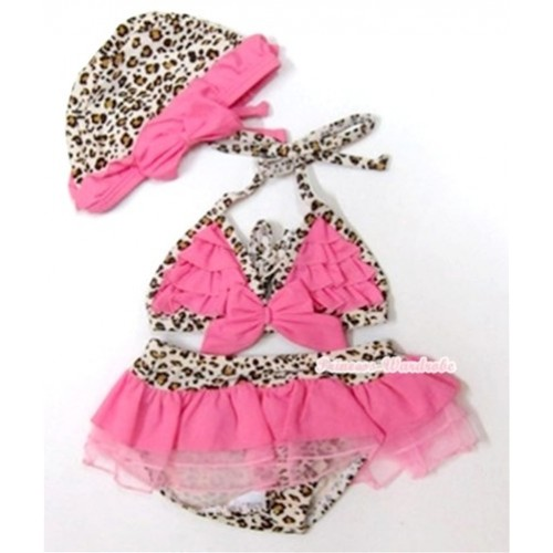 Light Pink Leopard Bikni Swimming Suit with Cap SW55
