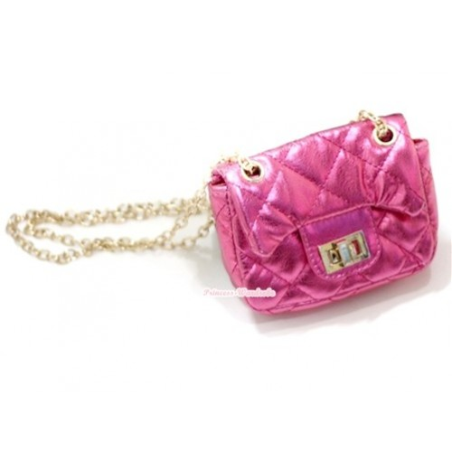 Gold Chain Shiny Hot Pink Checked Little Cute Petti Shoulder Bag CB28