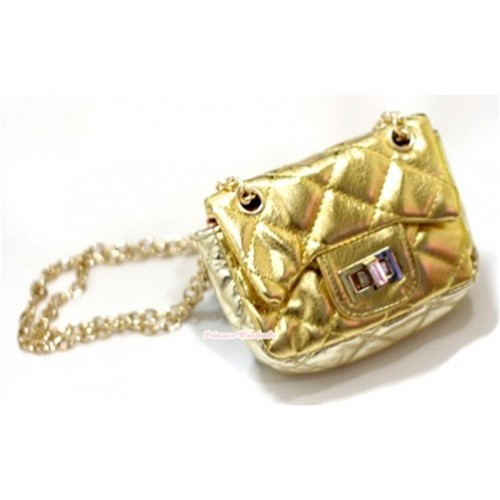 Gold Chain Shiny Gold Checked Little Cute Petti Shoulder Bag CB29