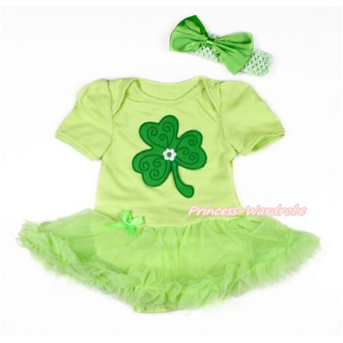 St Patrick's Day Light Green Baby Bodysuit Jumpsuit Light Green Pettiskirt With Clover Print With Light Green Headband Light Green Satin Bow JS3045