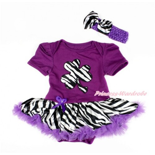St Patrick's Day Dark Purple Baby Bodysuit Jumpsuit Dark Purple Zebra Pettiskirt With Zebra Clover Print With Dark Purple Headband Zebra Satin Bow JS3054