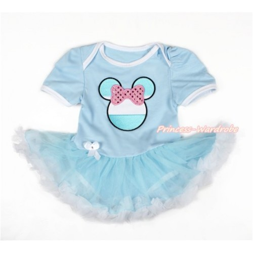 World Cup Light Blue Baby Jumpsuit Light Blue White Pettiskirt with Sparkle Light Pink Argentina Minnie Print JS3076