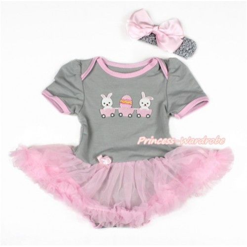 Easter Grey Baby Bodysuit Jumpsuit Light Pink Pettiskirt With Bunny Rabbit Egg Print With Grey Headband Light Pink Silk Bow JS3100