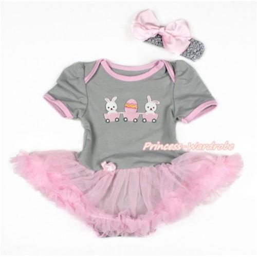 Easter Grey Baby Bodysuit Jumpsuit Light Pink Pettiskirt With Bunny Rabbit Egg Print With Grey Headband Light Pink Silk Bow JS3100
