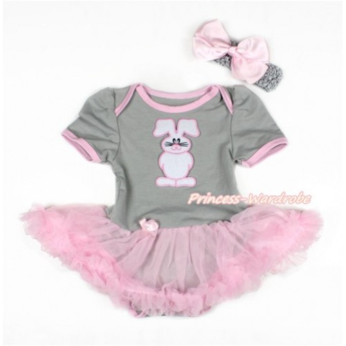 Easter Grey Baby Bodysuit Jumpsuit Light Pink Pettiskirt With Bunny Rabbit Print With Grey Headband Light Pink Silk Bow JS3101
