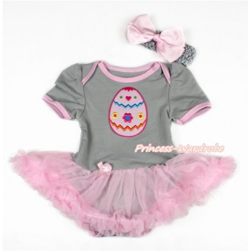 Easter Grey Baby Bodysuit Jumpsuit Light Pink Pettiskirt With Easter Egg Print With Grey Headband Light Pink Silk Bow JS3102