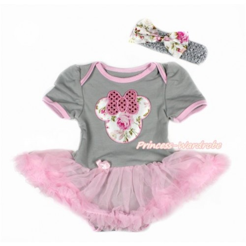 Grey Baby Bodysuit Jumpsuit Light Pink Pettiskirt With Sparkle Light Pink Rose Minnie Print With Grey Headband Light Pink Rose Fusion Satin Bow JS3105