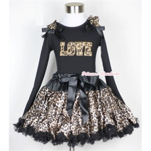 Black Leopard Pettiskirt with Leopard Love Print Black Long Sleeve Top with Leopard Ruffles & Black Bow MW186-1