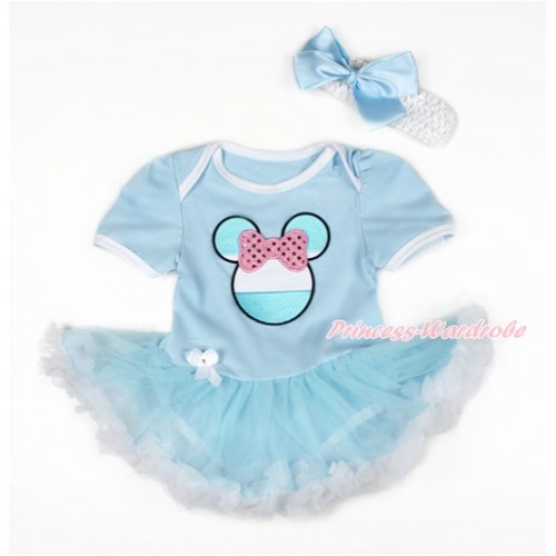 World Cup Light Blue Baby Bodysuit Jumpsuit Light Blue White Pettiskirt With Sparkle Light Pink Argentina Minnie Print With White Headband Light Blue Silk Bow JS3110