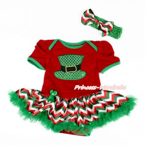 Red Baby Bodysuit Jumpsuit Red White Green Wave Pettiskirt With Sparkle Kelly Green Hat Print With Kelly Green Headband Red White Green Wave Satin Bow JS3120