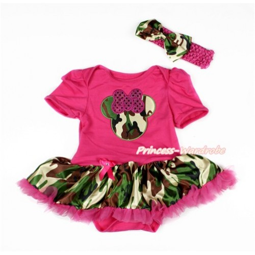 Hot Pink Baby Bodysuit Jumpsuit Camouflage Hot Pink Pettiskirt With Sparkle Hot Pink Camouflage Minnie Print With Hot Pink Headband Camouflage Satin Bow JS3122