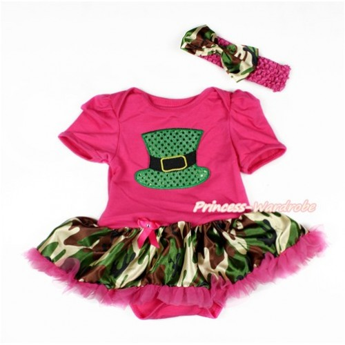 Hot Pink Baby Bodysuit Jumpsuit Camouflage Hot Pink Pettiskirt With Sparkle Kelly Green Hat Print With Hot Pink Headband Camouflage Satin Bow JS3123
