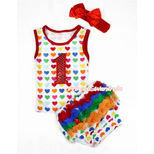 Valentine's Day Rainbow Heart Baby Pettitop & 1st Sparkle Red Birthday Number Print & White Rainbow Heart Bloomers with Red Headband Red Silk Bow LD240