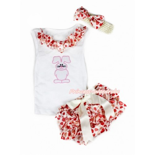 Easter White Baby Pettitop & Cream White Heart Satin Lacing & Bunny Rabbit Print with Cream White Bow Cream White Heart Satin Bloomers with Cream White Headband Cream White Heart Satin Bow LD252
