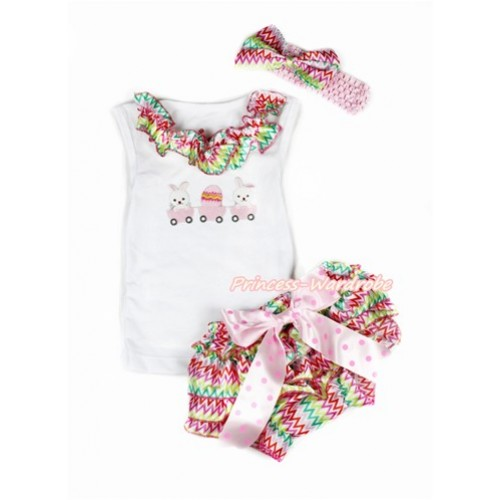 Easter White Baby Pettitop & Rainbow Wave Satin Lacing & Bunny Rabbit Egg Print with Light Hot Pink Dots Bow Rainbow Wave Satin Bloomers with Light Pink Headband Rainbow Wave Satin Bow LD254