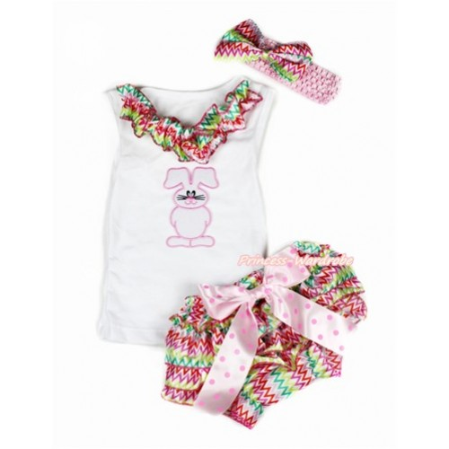 Easter White Baby Pettitop & Rainbow Wave Satin Lacing & Bunny Rabbit Print with Light Hot Pink Dots Bow Rainbow Wave Satin Bloomers with Light Pink Headband Rainbow Wave Satin Bow LD255