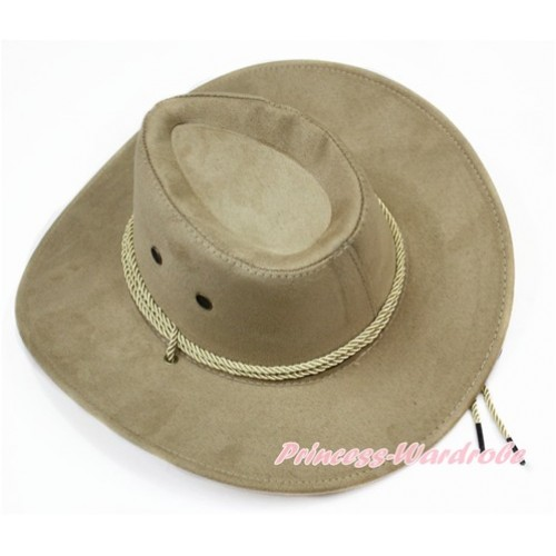 Cream White Beige Leather Western Cowboy Rope Wide Brim Hat H780