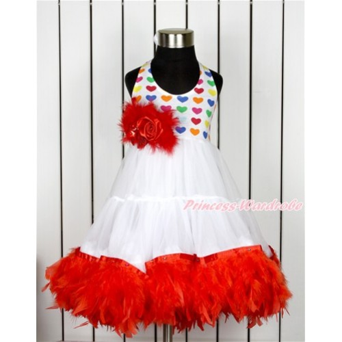 Xmas White Rainbow Heart ONE-PIECE Petti Dress with Red Posh Feather & Red Feather Crystal Rose Bow LP37