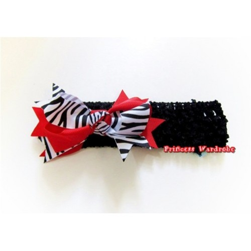 Black Headband with Red Zebra Screwed Ribbon Hair Bow Clip H566