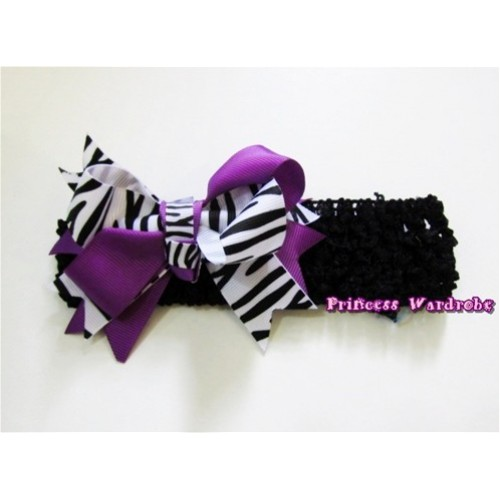 Black Headband with Dark Purple Zebra Screwed Ribbon Hair Bow Clip H572
