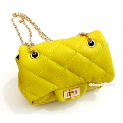 Gold Chain Yellow Checked Little Cute Petti Shoulder Bag CB34
