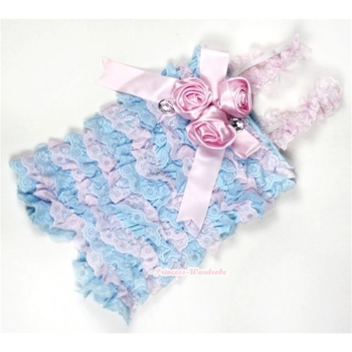 Light Blue Pink Lace Ruffles Petti Rompers With Straps With Big Bow & Bunch Of Light Pink Satin Rosettes& Crystal LR144