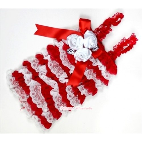 Red White Lace Ruffles Petti Rompers With Straps With Big Bow & Bunch Of White Satin Rosettes& Crystal LR143