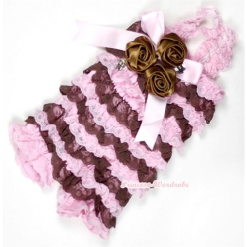 Light Pink Brown Lace Ruffles Petti Rompers With Straps With Big Bow & Bunch Of Brown Satin Rosettes& Crystal LR149