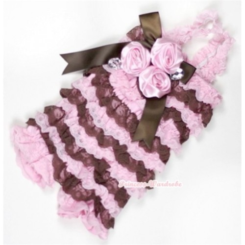 Light Pink Brown Lace Ruffles Petti Rompers With Straps With Big Bow & Bunch Of Light Pink Satin Rosettes& Crystal LR150