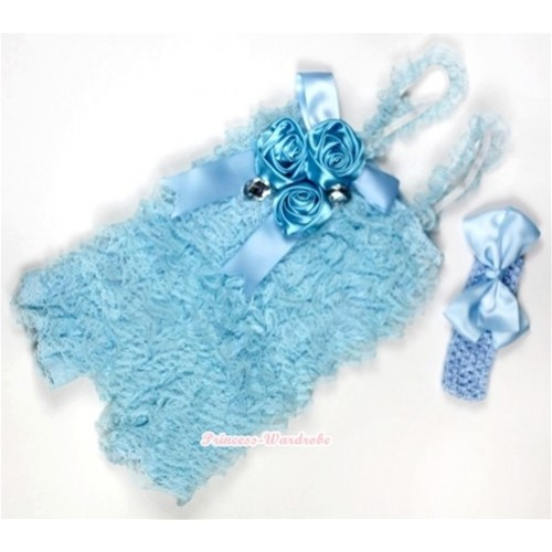Light Blue Lace Ruffles Petti Rompers With Straps With Big Bow & Bunch Of Light Blue Satin Rosettes& Crystal,With Light Blue Headband Light Blue Silk Bow RH105